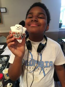 Xander shows off his marshmallow Storm Troop Cupcake